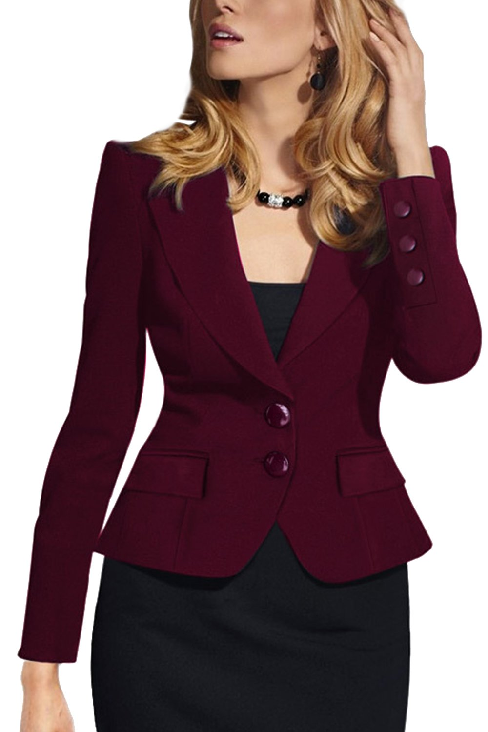 Women Elegant Long Sleeve Short Office Business Suit Blazer Plus Size CAFZ1295