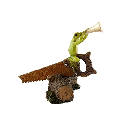 Top Collection Miniature Garden Frog Statues (Frog Playing Horn On Rustic  Handsaw)