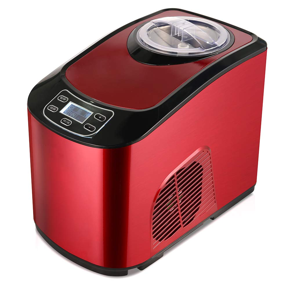 Northair Ice Cream Maker, Automatic Frozen Yogurt Sorbet Machine Countertop for Families & Friends, Easy Healthy Homemade Ice Cream with Instruction Book, 1.4 Quart, Timer Function, LCD Display(Red)