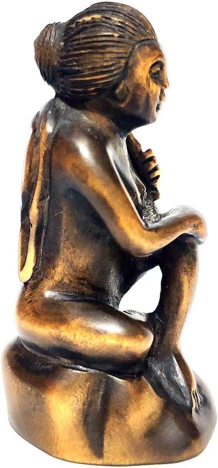 "Stunning 2/"" Hand Carved Boxwood Netsuke Geisha Girl Woman Lady Y7126"