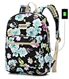 Laptop Backpack with USB Charging Port Waterproof School Bookbag Travel Backpack for 15.6 Inch (Colour Flowers)