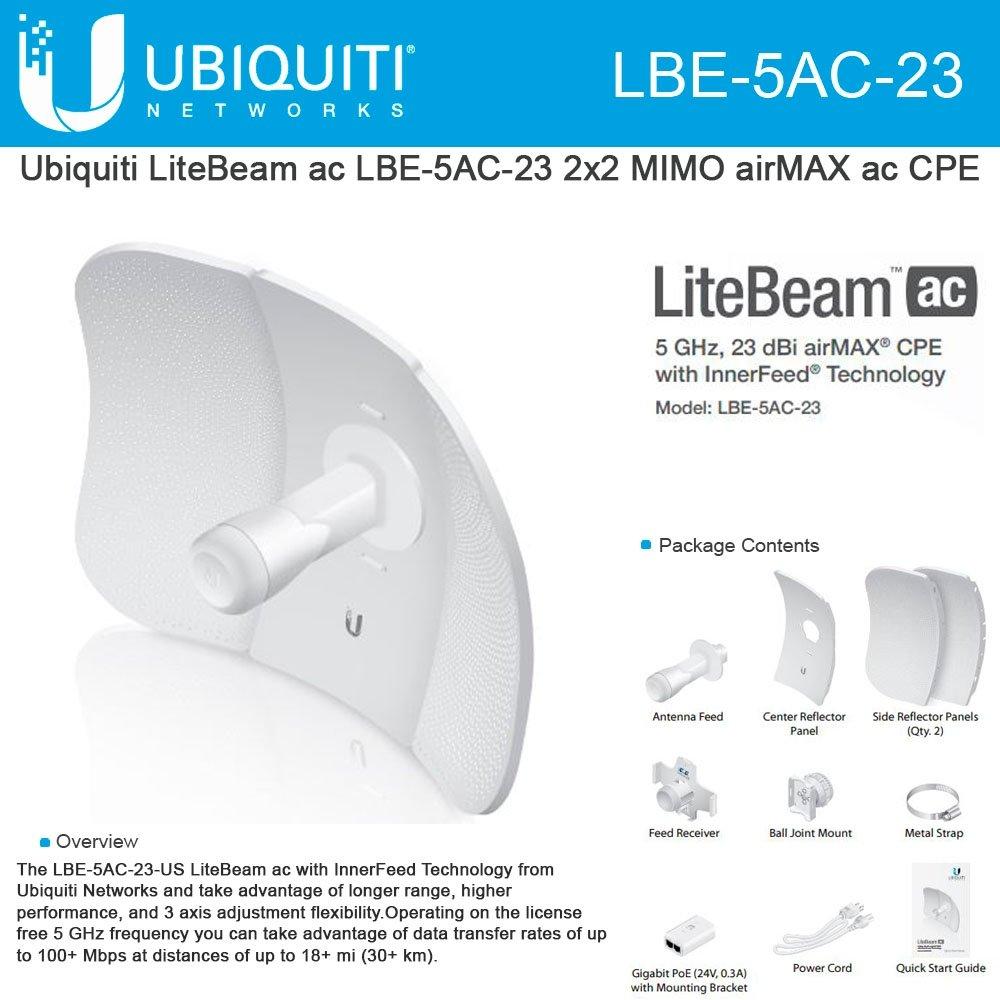 Ubiquiti Networks LiteBeam AC 2x2 Mimo Airmax 23 dBi CPE LBE5AC23
