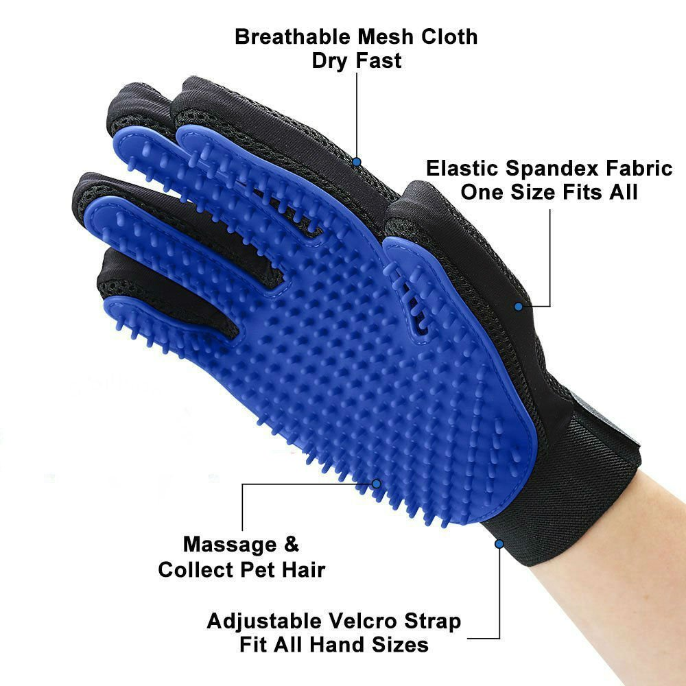 Shed No More (Premium Version) Grooming Glove - Soft & Gentle Deshedding Brush Glove - Efficient Pet Fur Remover Mitt - Enhanced Glove Design - Works Best for Dogs & Cats with Long & Short Fur