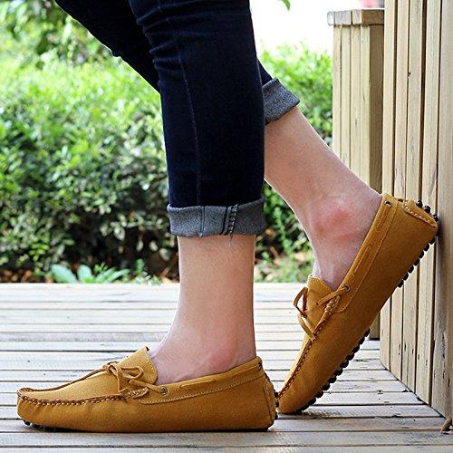 Minitoo Hombres de conducción nuevo nudo Suede Loafers Penny zapatos de barco amarillo