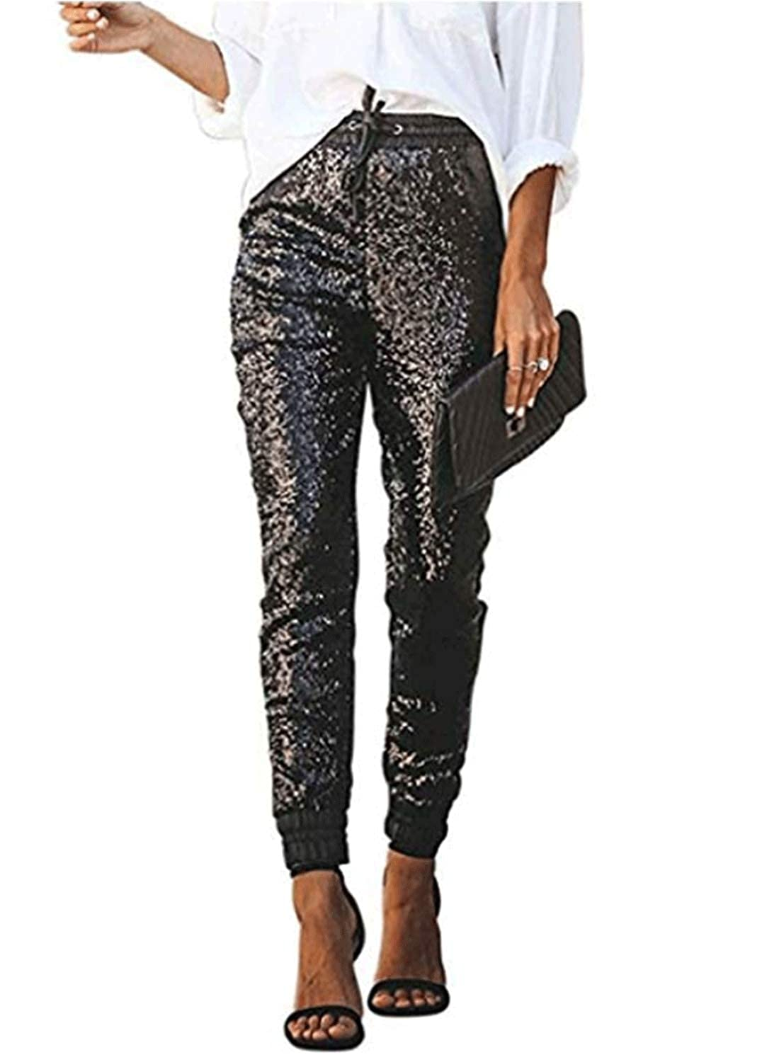 Paitluc Womens Joggers Pants Sequins Fashion Flowy Pants Black Pants Slacks for Women Jogger Pants for Women with Drawstring