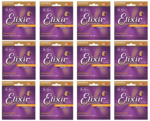BULK 12-sets Elixir Nanoweb Phosphor Bronze Custom Light Gauge Acoustic Guitar Strings (# 16027)