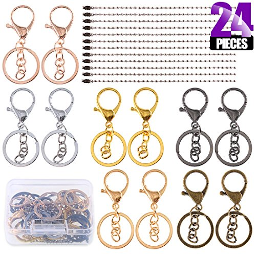Clasp Including (Swpeet 24Pcs Jewelry Making Kit, Including 12Pcs Assorted Colors Lobster Clasps Keychain with 12Pcs Ball Chain Necklace, Swivel Lanyards Snap Hooks Lobster Clasps for Jewelry Making)