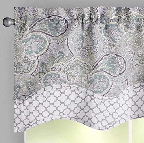 """Traditions By Waverly Paddock Shawl Mint Green and Beige Trellis Trim Scalloped Window Valance, 52""""W x 16""""L Review"""