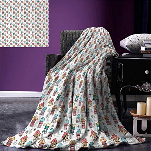 smallbeefly Christmas Weave Pattern Extra Long Blanket Cute Noel Themed Elf Houses Hats Doodle Trees Snowflakes Colorful Image Custom Design Cozy Flannel Blanket 90