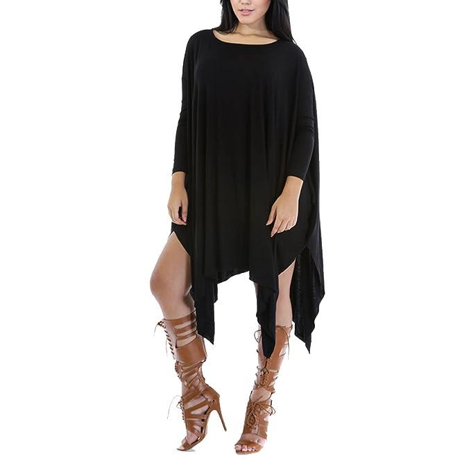 Leezeshaw Womens Boat Neck Asymmetry Oversized Poncho Tunic Dress