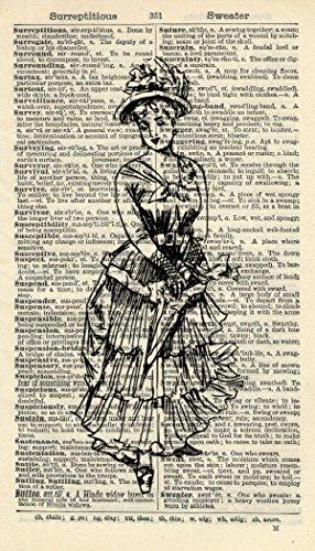 Victorian Lady Art Print - Portrait Art Print - Vintage Art Print - Vintage Dictionary Art Print - Wall Art - Artwork - Dictionary Page - Illustration - Home Décor (Victorian Woman Portrait)