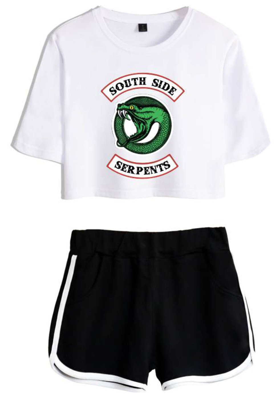 SERAPHY Riverdale Clothing Crop Top T-Shirt and Shorts Suit for Girls/Wowen 4892 White-Black M