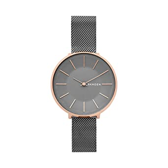 Skagen Womens Karolina Japanese-Quartz Watch with Stainless-Steel Strap, Grey, 14