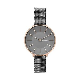 Skagen Womens Karolina Japanese-Quartz Watch with Stainless-Steel Strap, Grey, 14