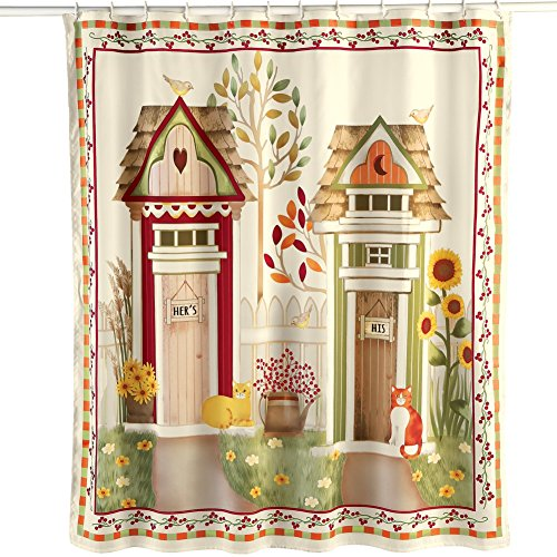 Country Home Suitable Printing Curtains Decorating Ideas: Cute Primitive Outhouse Bathroom Decor