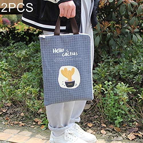 事務用品 グレート2つのPCSサボテンパターン防水と防塵キャンバスファイルバッグジッパーデータポータブルストレージバッグ、ランダムスタイル配達