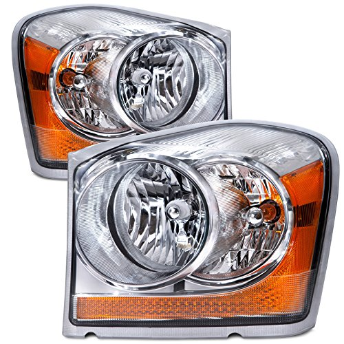 HEADLIGHTSDEPOT Chrome Housing Halogen Headlight Compatible with Dodge Durango 2004-2006 Includes Left Driver and Right Passenger Side Headlamps ()