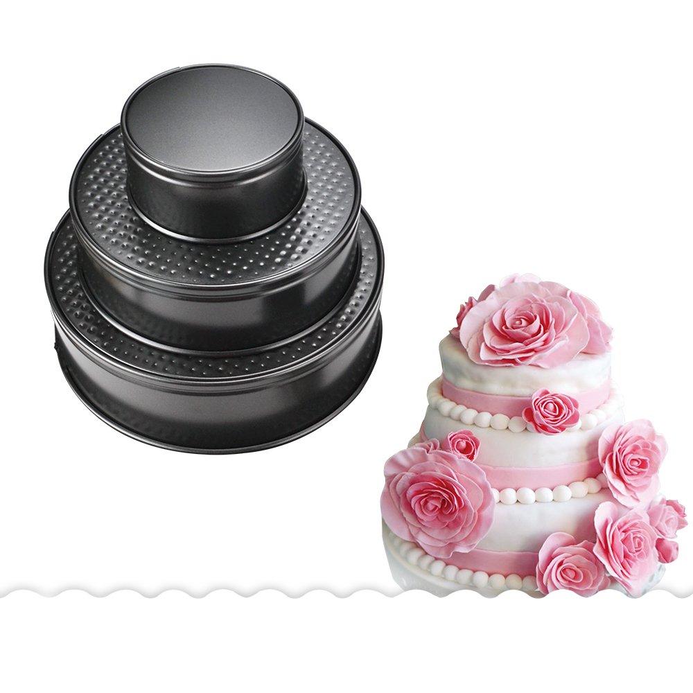 Homy Feel Nonstick Springform Pan Set(4/7/9 Inch) Leakproof Round Cheesecake Pan Removable Bottom Interlocking Clip Cake Pan