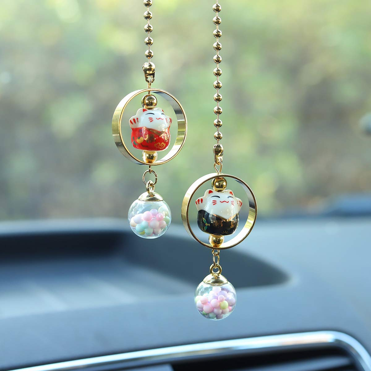 Purple /& Yellow EYEZU Bling Car Pendant Lucky Cat Car Charms for Rear View Mirror Chinese Ceramic Car Charm Ornaments Cute Cat Car or Home Decorations Car Interior Accessories