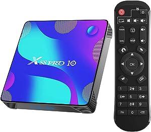2021 Android TV Box 11.0,4GB RAM 32GB ROM RK3318 Quad-Core 3D 4K Smart Box,Support 2.4G/5.8G Dual WiFi,BT 4.1,100M Ethernet LAN X88 PRO 10 Streaming Video Box