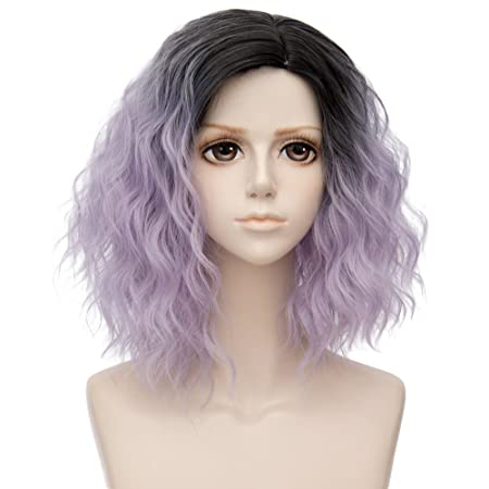 Amazon.com: TOPMAX Ombre Short Curly Heat Resistant Cosplay Wig Fashion Lolita Womens Party, Black Mixed Ash Purple: Beauty