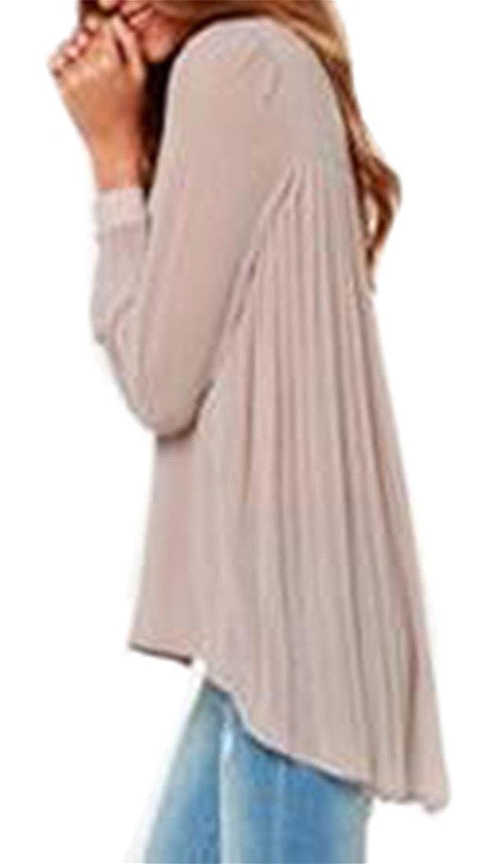 Reinhar Women Fashion Casual Ruffle Dovetail Chiffon Loose Blouses