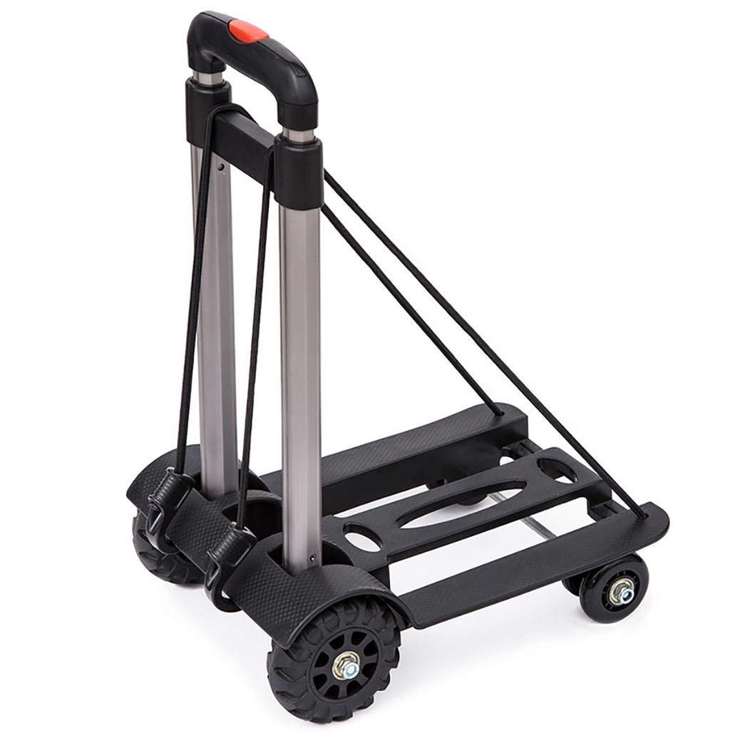 Folding Compact Lightweight Premium Durable Luggage Cart - Travel Trolley (up to 110 lbs) Black