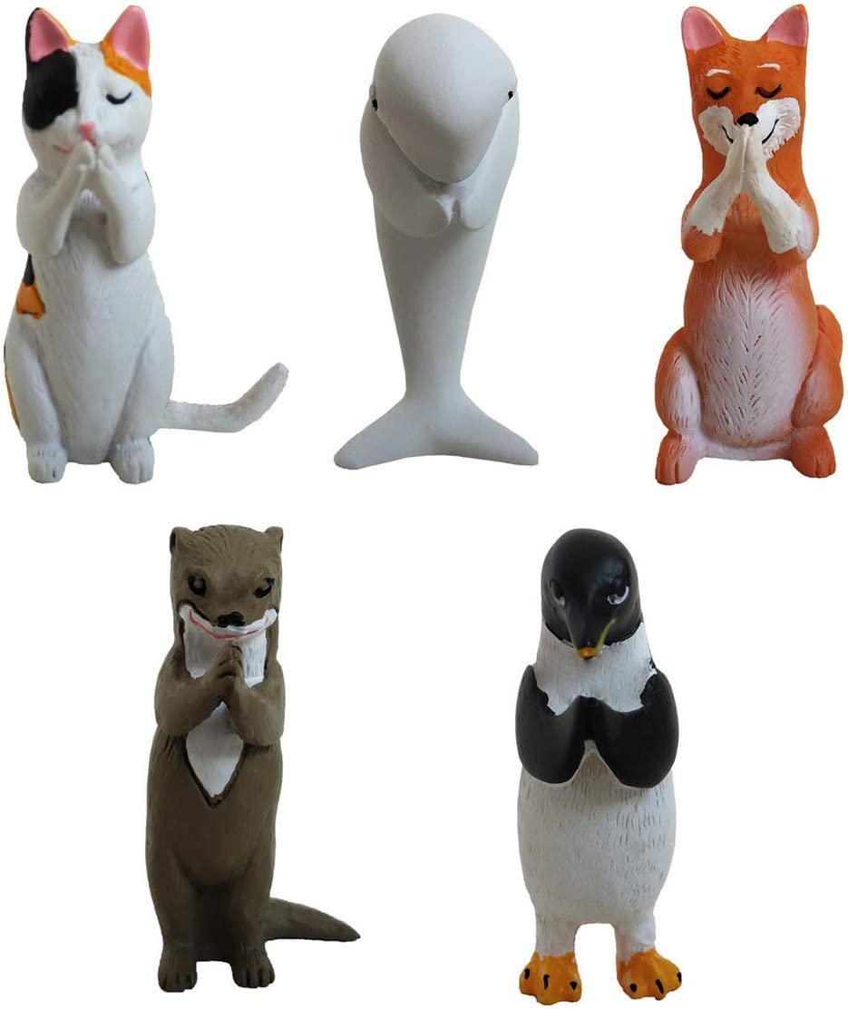 UgyDuky Praying Animal Resin Toy - 5 Pack Cute Collectable Aniaml Figurines - Fun, Versatile Decoration - Authentic Japanese Design for Crafts and Home Decor