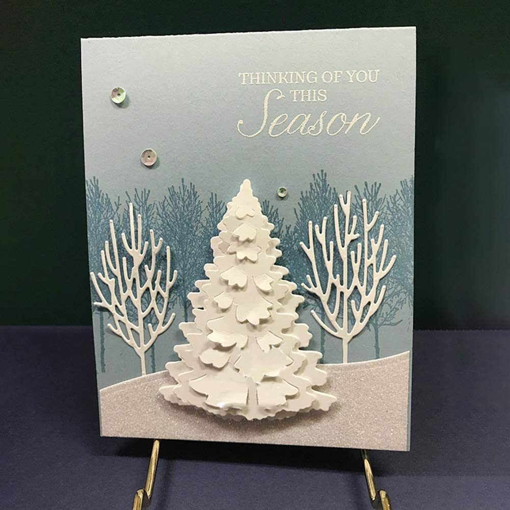Christmas Tree Metal Cutting Dies DIY Scrapbooking Paper Cards Photo Album Decor Craft Embossing Stencil Punching Template Gift Silver Gemini/_mall Cutting Dies for Card Making
