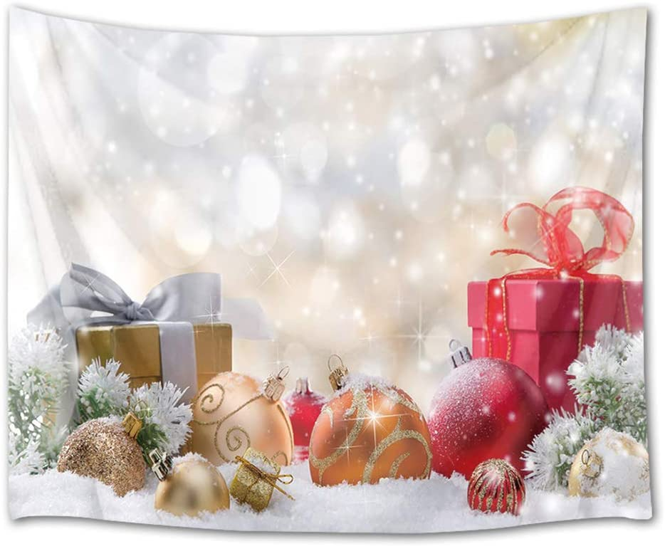 HVEST Christmas Tapestry Wall Hanging Snow Tapestry Xmas Balls with Gifts Wall Blankets for Bedroom Living Room Dorm Decor,92.5Wx70.9H inches