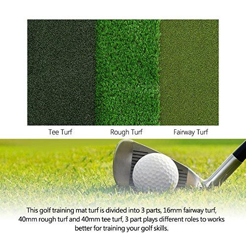 GOTOTOP Golf Practice Mat, 64x40cm Tri-Turf Portable Golf Hitting Mat Golf...