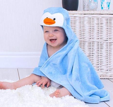De ping/üino a lomos de soporte para toallas de conejitos para la ba/ñera con mangas para beb/é con capucha con texto de Sky de color azul