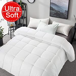"""Soft King Size Comforter All Seasons 2000 Series Lightweight Quilted Down Alternative Breathable White Comforter Duvet Insert With 8 Corner Tabs Breathable Cooling 3D Filling (White, King (90""""x102""""))"""