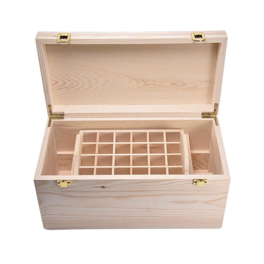 Essential Oils Storage Wooden Box - with 44 Slots for 5-100ml Bottles, Essential Oils Wooden Case Perfect for Display & Presentation by Wind-Susu