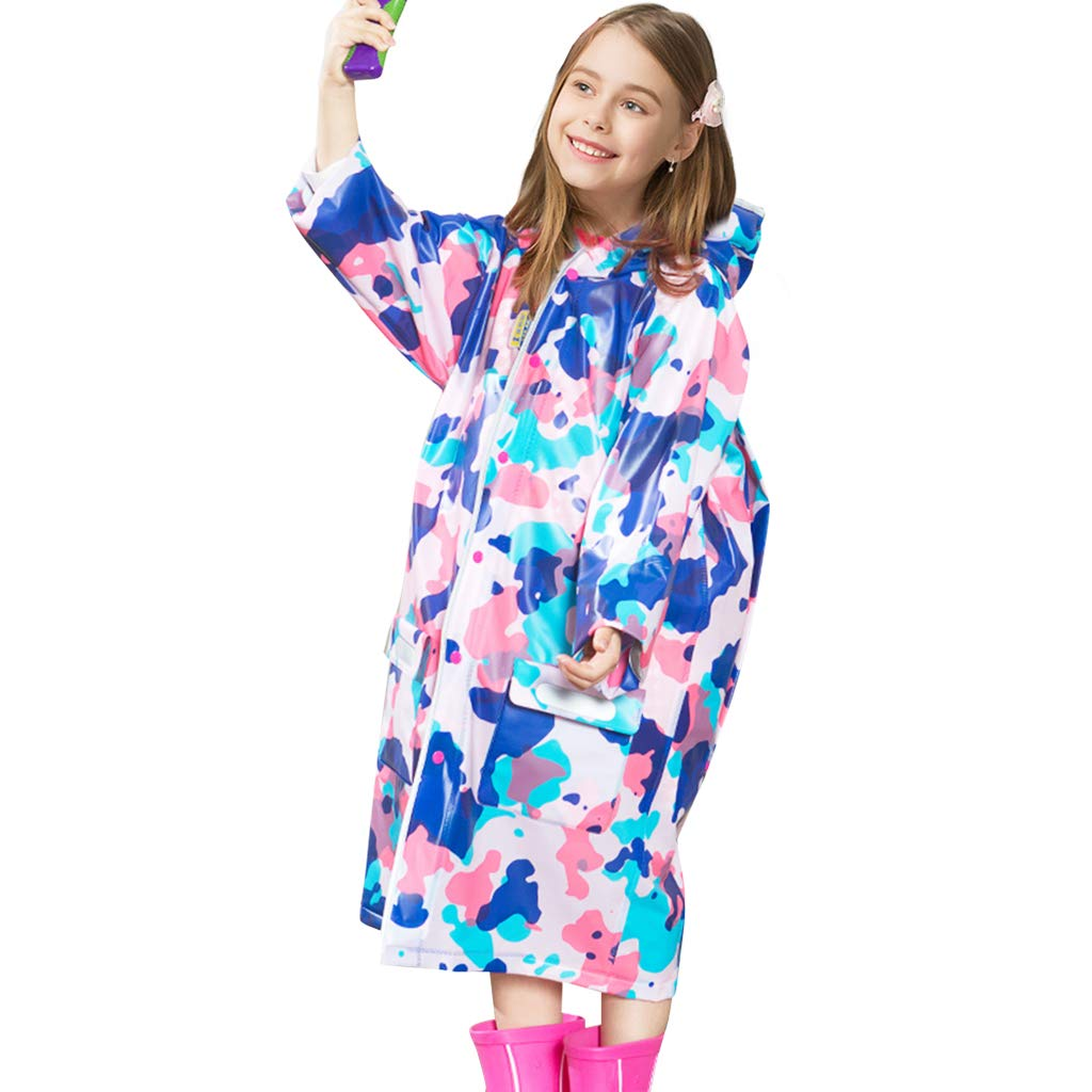 Zilee Kids Raincoat Poncho Waterproof Rain Jacket Cape Hooded Rainwear for Outdoors