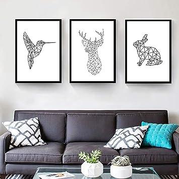 Nordic Ideas Set De 3 Posters Cerf Lapin Oiseau Dessin Animaux Noir Et Blanc Tableau Décoration Murale Affiches Impression Déco Salon Moderne