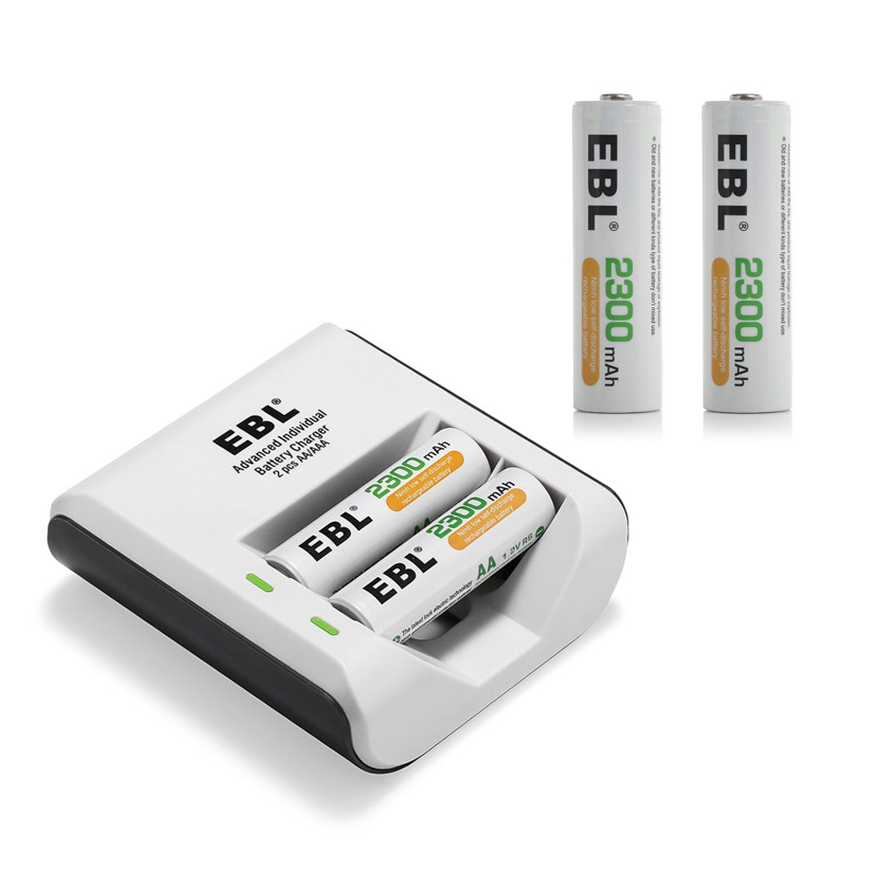 EBL 4 Pack 2300mAh High Capacity AA Rechargeable Batteries with 2 Bay Charger
