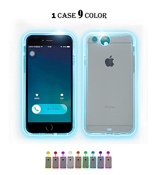 best sneakers a3ca9 44824 iPhone 6s Plus Case,iPhone 6 Plus Case,Winhoo 9 Color in 1 LED Flash  Case,Can Change 9 Incoming Call LED Flash Light Alerts Clear Back Case  Cover for ...