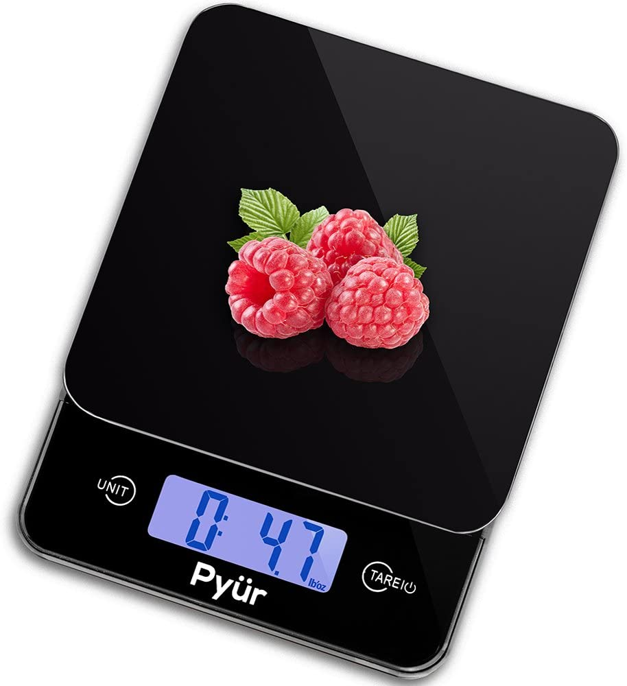 Multifunction Kitchen Digital Food Scale, Accurate up to 11 lbs (5 KG) - LCD Display & Tare, Tempered Glass