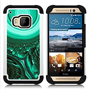 - cell biology green teal mysterious/ H??brido 3in1 Deluxe Impreso duro Soft Alto Impacto caja de la armadura Defender - SHIMIN CAO - For HTC ONE M9