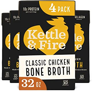 product image for Chicken Bone Broth by Kettle and Fire, Pack of 4, 32oz For Cooking, Keto Diet, Paleo Friendly, Whole 30 Approved, Gluten Free, with Collagen, 7g of protein, 32 fl oz…