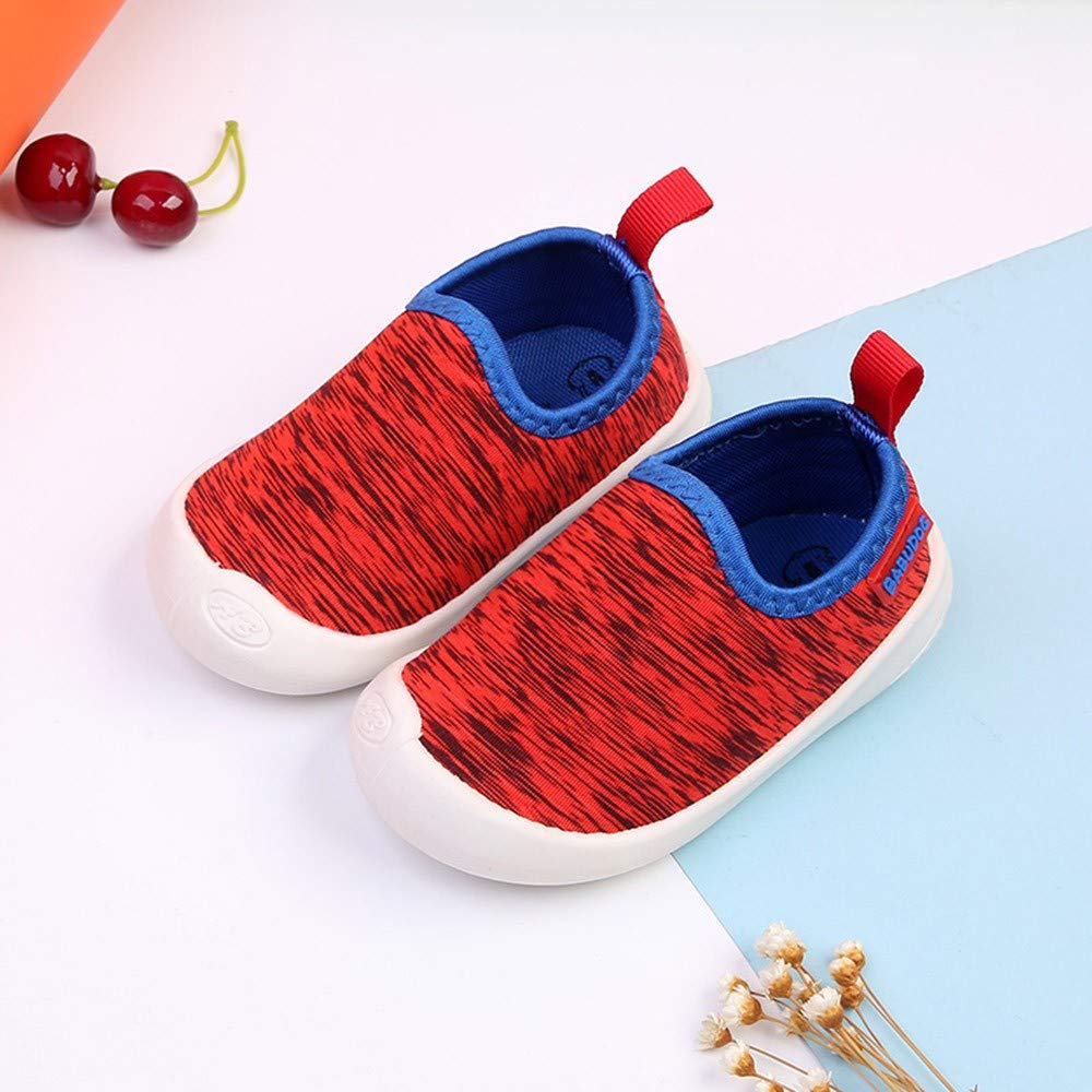 Huangou Baby Canvas Sneakers Crib Shoes Toddler Striped Soft Sole Slip-On Sneakers