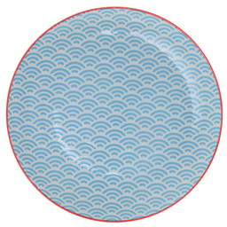 Tokyo Design Studio Starwave Dessert Plate - Small Wave - Aqua/Red at Amara