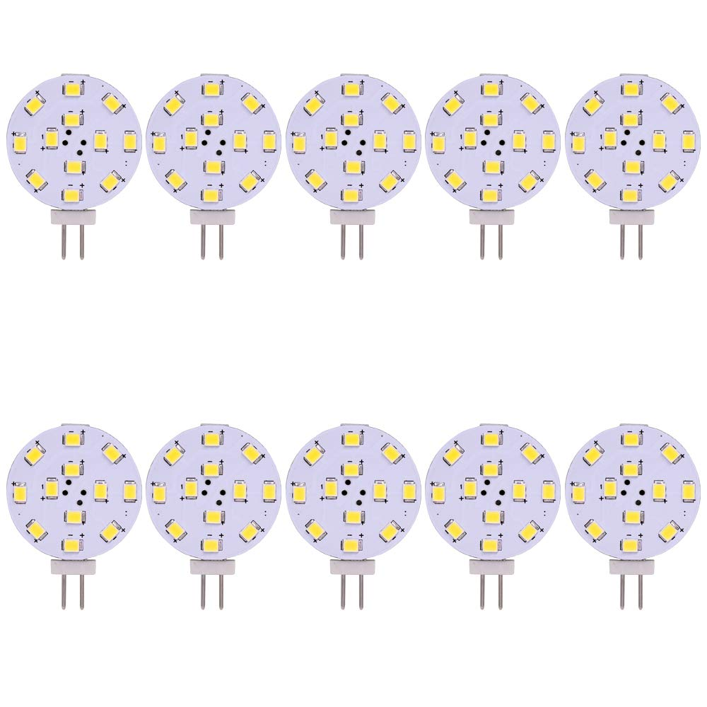 G4 GU4 Disc Light 250 Lumen AC DC 12V 24V 2 Watts Replace 20 Watts Halogen Bulbs LED Lamp Pack of 10 (Warm White)