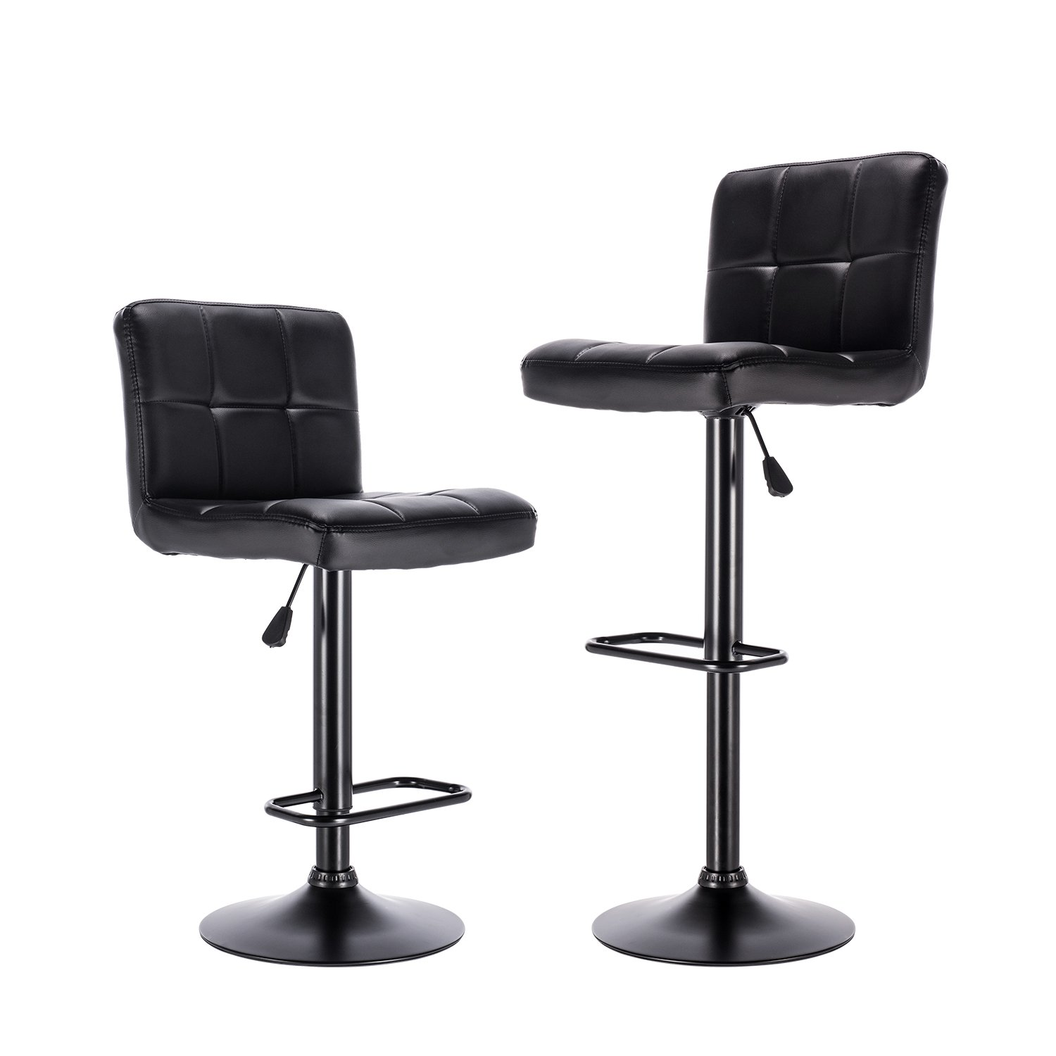 LCH Bar Stools,Airlift Square Adjustable Bar Stools with Back, Counter Height Swivel Bar Stool Chairs,Set of 2 (Black)