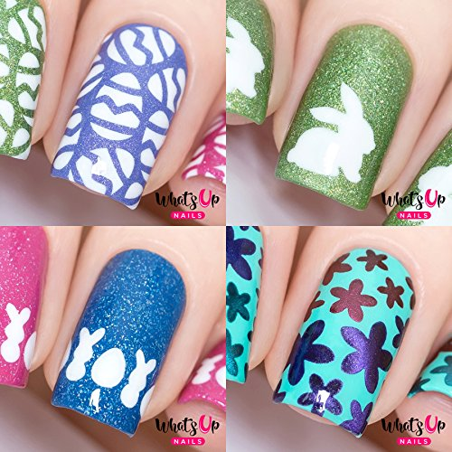 Whats Up Nails - Easter Nail Vinyl Stencils 4pcs (Eggs, Bunny, Easter, Bloom) for Nail Art Design