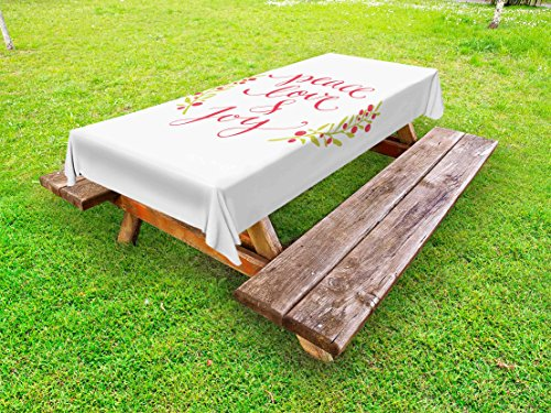 Ambesonne Quote Outdoor Tablecloth, Peace Love and Joy Calligraphic Xmas Text with Winter Berries Wreath, Decorative Washable Picnic Table Cloth, 58 X 120 Inches, Dark Coral Yellow Green
