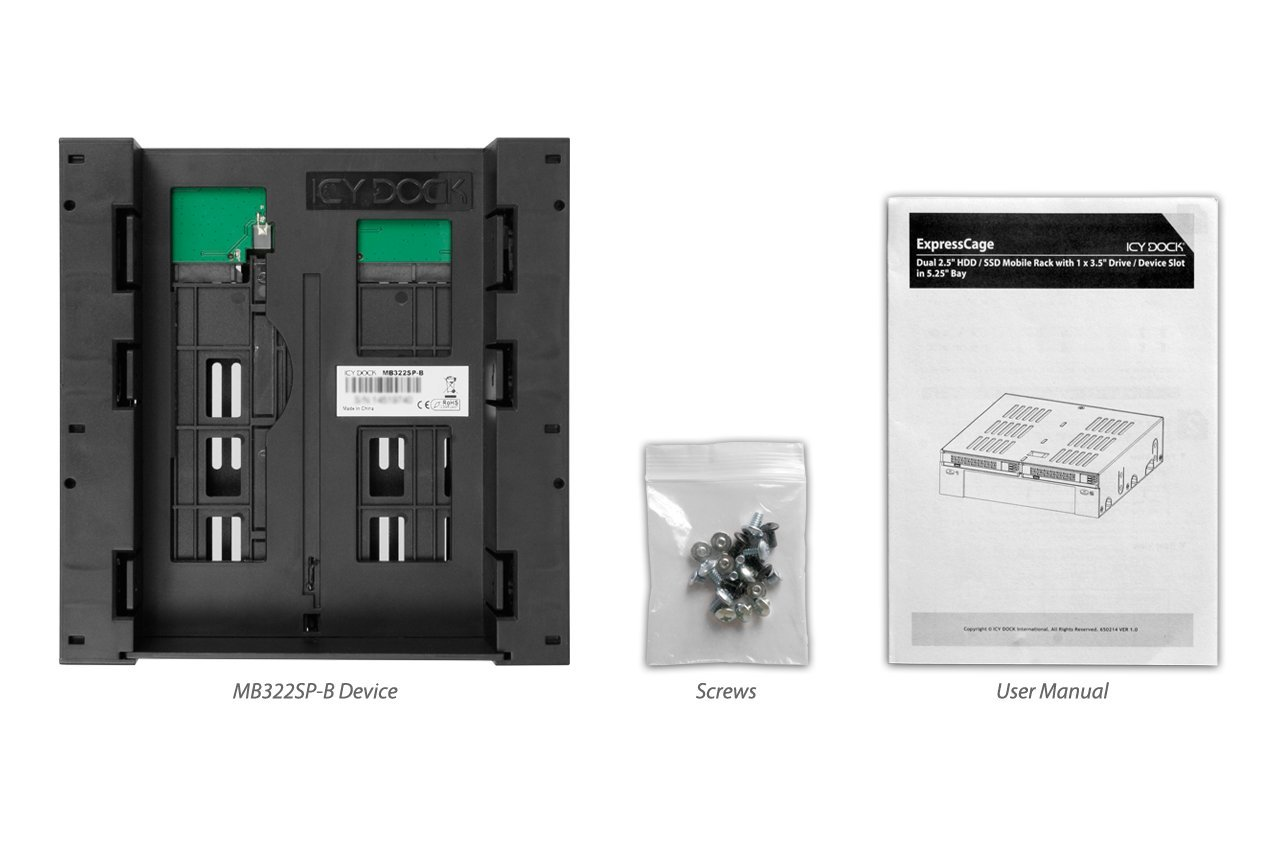 ICY DOCK 2 x 2.5'' SATA/SAS HDD/SSD to 5.25'' Hot Swap Mobile Rack Cage w/ 3.5'' Drive/Device Bay- ExpressCage MB322SP-B