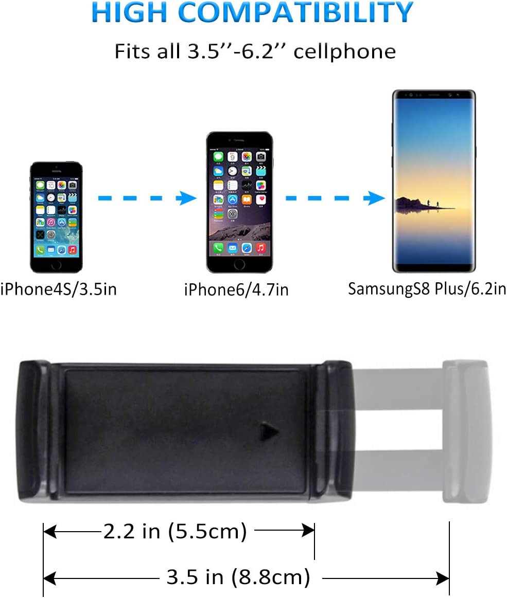 Mini Air Vent Phone Holder for Car,Kolasels Handsfree Car Phone Mount Cradle with Adjustable Clip Compatible with iPhone 11 Pro//XR//XS Max//XS//X//8//8 P//7,Galaxy S10//S10 //S9//Note 9 and More Cell Phones