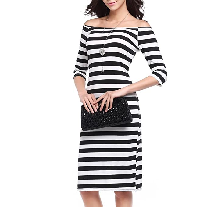 Kleider Halbfeste Hals Striped Printing Damen Dress Uface Slash SpMVqUzG
